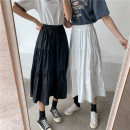 skirt Summer 2020 White, black longuette commute High waist A-line skirt Solid color Type A 18-24 years old 91% (inclusive) - 95% (inclusive) brocade Other / other other Korean version