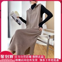 Dress Winter 2020 Black, grey, denim blue M,L,XL,XXL longuette singleton  Sleeveless commute Hood Loose waist Solid color Socket Others 25-29 years old Sxzy / up, down, left and right Korean version Button 32-69050-BSF More than 95% knitting other