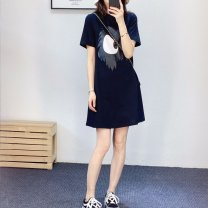 Dress Summer 2020 black S,M,L,XL longuette singleton  Short sleeve Crew neck middle-waisted Socket A-line skirt routine 25-29 years old Type A Ocnltiy printing More than 95% cotton