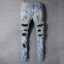 Jeans Youth fashion Match boy 28,29,30,31,32,33,34,36,38,40 As shown in the figure routine Micro bomb Regular denim trousers Other leisure winter youth Medium low back Slim feet tide 2018 Little straight foot zipper washing patch Holes, scrapes, splashes, stitches, rags, edges cotton