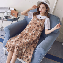 Dress Summer 2020 Blue, white, orange, white T-shirt M,L,XL,2XL Mid length dress Two piece set Short sleeve commute Crew neck High waist Broken flowers Socket Pleated skirt routine camisole Type A Korean version Ruffles, zippers, prints 71% (inclusive) - 80% (inclusive) Chiffon cotton
