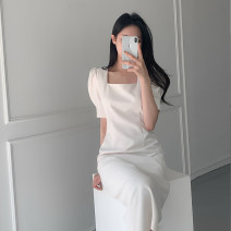 Dress Spring 2020 Light blue, white S,M,L Mid length dress singleton  Short sleeve commute Crew neck High waist Solid color Socket other puff sleeve Others Type H 71% (inclusive) - 80% (inclusive) other cotton