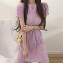 Dress Summer 2020 Apricot, purple, green, blue, black Average size Mid length dress singleton  Short sleeve commute Crew neck High waist Solid color A-line skirt Korean version
