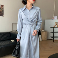 Dress Spring 2021 wathet Average size singleton  Long sleeves commute High waist Solid color 18-24 years old Other / other Korean version