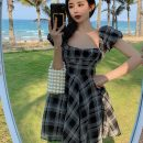 Dress Summer 2021 Black and white S, M Short skirt singleton  Short sleeve commute square neck High waist lattice zipper Princess Dress Flying sleeve Others Type A Other / other Simplicity More than 95% Chiffon
