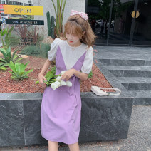 Dress Summer 2021 Purple, pink S,M,L Middle-skirt singleton  Long sleeves commute Doll Collar middle-waisted Solid color Socket Pleated skirt puff sleeve camisole Type A Korean version Bandage 51% (inclusive) - 70% (inclusive) knitting polyester fiber
