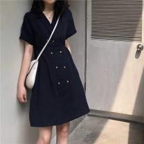 Dress Summer of 2019 Navy Blue Average size Short skirt Short sleeve commute V-neck cotton