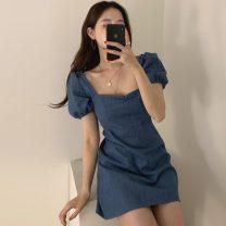 Dress Summer 2021 blue S,M,L Short skirt singleton  Short sleeve commute square neck High waist Solid color zipper A-line skirt puff sleeve Others Korean version backless 81% (inclusive) - 90% (inclusive) Denim