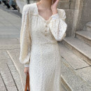 Dress Spring 2021 Off white S,M,L Mid length dress singleton  Long sleeves commute V-neck High waist other Three buttons other puff sleeve 18-24 years old Other / other