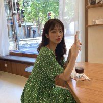 Dress Spring 2021 green Average size Mid length dress singleton  Short sleeve commute Dot Single breasted A-line skirt other 25-29 years old Type A Other / other Korean version 31% (inclusive) - 50% (inclusive) Chiffon