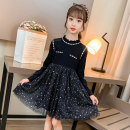 Dress black female Other / other 110cm,120cm,130cm,140cm,150cm,160cm Cotton 90% other 10% spring and autumn princess Long sleeves Solid color cotton A-line skirt Class A Three, four, five, six, seven, eight, nine, ten, eleven, twelve, thirteen Chinese Mainland Zhejiang Province Huzhou City