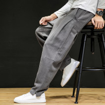 Casual pants Others Youth fashion Gray, black, khaki, navy M,L,XL,2XL,3XL,4XL,5XL routine trousers Other leisure easy No bullet K031 Four seasons youth Chinese style 2019 Medium low back Little feet Haren pants washing Solid color Cotton and hemp Original designer
