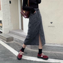 skirt Spring 2021 S,M,L,XL Blue, black Mid length dress Versatile High waist Denim skirt Type A 30% and below Denim cotton