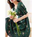 Dress Spring 2021 Dark green, Navy S,M,L Middle-skirt singleton  Short sleeve commute High waist Broken flowers Socket Big swing puff sleeve Others Type X Retro zipper QA12211 silk