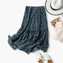 skirt Spring 2021 XS,S,M,L Dark blue with yellow dots Mid length dress Versatile High waist QA02146 Caragana korshinskii