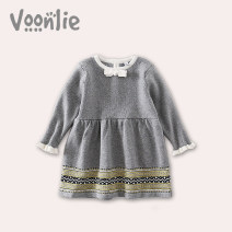Dress grey female Voonlie / fanlie 73, 80, 70-75cm, 90, 75-80cm, 100, 80-85cm, 110, 85-90cm, 120, 90-95cm Cotton 82% polyamide 18% spring and autumn princess Long sleeves Solid color cotton A-line skirt VC093 Class A Spring of 2019 3 months 12 months 6 months 9 months 18 months 2 years old