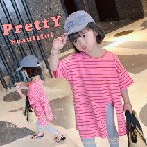 T-shirt pink Other / other 90cm,100cm,110cm,120cm,130cm,140cm female summer Short sleeve Crew neck Korean version There are models in the real shooting nothing cotton stripe Other 100% MLS5190 Class B 2 years old, 3 years old, 4 years old, 5 years old, 6 years old, 7 years old, 8 years old