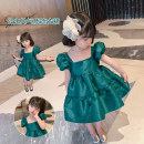 Dress green female Other / other Other 100% summer princess Short sleeve Solid color other Princess Dress 18 months, 2 years old, 3 years old, 4 years old, 5 years old, 6 years old, 7 years old, 8 years old Chinese Mainland