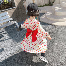 Dress gules female Other / other Height 80 cm, height 90 cm, height 100 cm, height 110 cm, height 120 cm, height 130 cm, height 140 cm Cotton 95% other 5% spring and autumn Korean version Long sleeves Dot cotton A-line skirt MLQ4132 Class B Chinese Mainland