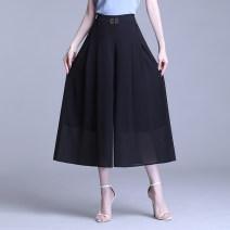 Casual pants black M,L,XL,2XL,3XL,4XL Summer 2021 Ninth pants Wide leg pants High waist commute Thin money 91% (inclusive) - 95% (inclusive) other Korean version Three dimensional decoration