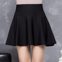 skirt Spring 2017 M,L,XL,2XL Red, black Short skirt commute High waist Pleated skirt Solid color Type A 91% (inclusive) - 95% (inclusive) knitting other Splicing Korean version