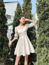 Dress Spring 2021 white XS,S,M,L longuette singleton  Short sleeve Doll Collar High waist Decor Single breasted routine camisole 25-29 years old Other / other printing 30% and below polyester fiber