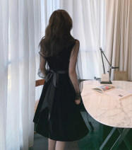 Dress Winter 2020 Black spot S,M,L Mid length dress singleton  Long sleeves V-neck High waist Solid color A-line skirt bishop sleeve Type A Other / other 91% (inclusive) - 95% (inclusive) other polyester fiber