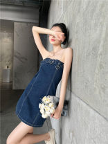 Dress Spring 2021 blue S,M,L Short skirt singleton  Sleeveless One word collar High waist Solid color zipper A-line skirt camisole 25-29 years old Type A Other / other Denim other