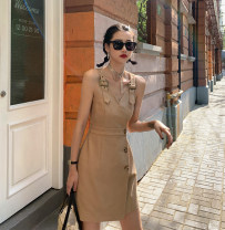 Dress Summer 2020 Khaki in stock S,M,L Short skirt singleton  Sleeveless commute V-neck High waist Solid color One pace skirt routine Others bow 91% (inclusive) - 95% (inclusive) other