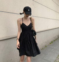 Dress Summer 2020 Black spot S,M,L Short skirt singleton  Sleeveless commute V-neck High waist Solid color A-line skirt routine Others bow 31% (inclusive) - 50% (inclusive) cotton