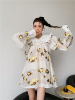 Dress Spring 2021 Blue white 8730 , Pure white jacquard 8342 , Pink 8775 , Black purple 8587 , Yellow coffee 8828 S,M,L Middle-skirt singleton  Long sleeves Doll Collar Loose waist Solid color zipper A-line skirt bishop sleeve Others 25-29 years old Type A Other / other other other
