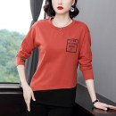 T-shirt Blue, orange Autumn 2020 Long sleeves Crew neck easy Regular routine commute cotton 86% (inclusive) -95% (inclusive) 40-49 years old Korean version originality letter printing