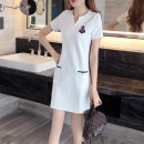 Dress Summer 2020 9988v white, 9988v black M,L,XL,2XL,3XL Mid length dress Short sleeve commute V-neck Type A Korean version 30% and below nylon