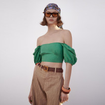 shirt green XS,S,M,L Spring 2021 other 81% (inclusive) - 90% (inclusive) Short sleeve street Short style (40cm < length ≤ 50cm) square neck HH50764099 Europe and America