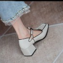 Low top shoes Other / other Spring 2021 TPR (tendon) Shallow mouth Two layer pigskin Patent leather Retro Solid color Square heel Middle heel (3-5cm) Superfine fiber Mary Jane shoes T-shaped buckle Hollowing out 022722507131 Square head 35,36,37,38,39,40