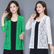 Lace / Chiffon Summer 2020 Green, white, black, red L,XL,2XL,3XL,4XL,5XL Long sleeves commute Cardigan singleton  easy Medium length Solid color Hollow, lace Korean version 91% (inclusive) - 95% (inclusive) nylon