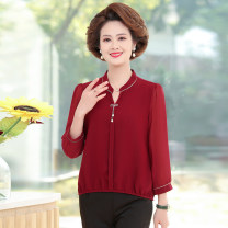 Middle aged and old women's wear Spring 2021 Red, black XL,XXL,XXXL,4XL,5XL fashion T-shirt easy singleton  Solid color 40-49 years old Socket moderate V-neck routine routine Jiusailang Button Single breasted 3 / 5 sleeve