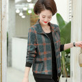 Middle aged and old women's wear Autumn 2020 Color one, color two, color three, color four XL,XXL,XXXL,4XL,5XL fashion Jacket / jacket easy singleton  lattice 40-49 years old Cardigan moderate Short (length 35-50cm) routine other pocket zipper
