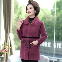Middle aged and old women's wear Winter 2020 XL,XXL,XXXL,4XL fashion woolen coat easy singleton  Solid color 40-49 years old Cardigan thick Medium length routine other Button Single breasted