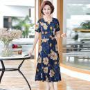 Middle aged and old women's wear Summer 2021 Blue flower, red flower, hoop bar, red hoop bar XL,XXL,XXXL,4XL,5XL fashion Dress easy singleton  Flower and bird pattern 40-49 years old Socket moderate V-neck Medium length routine Jiusailang longuette