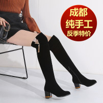 Boots 33 34 35 36 37 38 39 40 41 42 43 Black autumn winter thick hair black Suede G'kar bemay Middle heel (3-5cm) Thick heel Suede long and tube-shaped