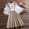 Dress Summer of 2019 Chu-3058 white, chu-3100 picture color, yang-9058 blue, chu-3036 blue, chu-3036 purple, wei-2163 white, wei-2163 pink, chu-3057 black lattice, chu-3028 pink, han-8801 white, han-8801 pink S. M, l, XL, XXL 100-110kg Middle-skirt Fake two pieces Short sleeve Sweet Crew neck lattice