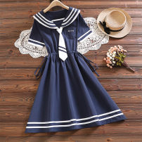 Dress Summer 2021 Navy, light blue S,M,L,XL,2XL longuette singleton  Short sleeve Sweet Admiral Elastic waist letter Socket A-line skirt routine Others 18-24 years old Type A Embroidery, pleating, stitching, lace, bandage nv216# 51% (inclusive) - 70% (inclusive) cotton college