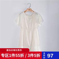 Dress Summer of 2019 white XS,S,M,L,XL Mid length dress Short sleeve Crew neck