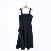 Dress Spring 2020 black XS,S,M Mid length dress singleton  Sleeveless commute Loose waist other Socket Irregular skirt 2FWD036 51% (inclusive) - 70% (inclusive) other wool