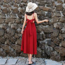 Dress Summer 2020 White, red, black S,M,L,XL,2XL longuette singleton  elbow sleeve Sweet V-neck High waist Solid color other A-line skirt other 18-24 years old Type A bow 31% (inclusive) - 50% (inclusive) Chiffon polyester fiber Bohemia