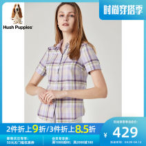 shirt XS S M L XL XXL Spring 2020 cotton 96% and above Short sleeve Sweet Regular other Single row multi button routine lattice 30-34 years old Straight cylinder Hush Puppies / Hush Puppies Cotton 100% Same model in shopping mall (sold online and offline) Ruili
