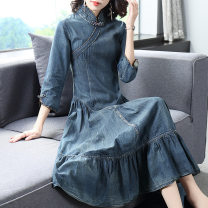 Dress Autumn of 2019 Denim blue S,M,L,XL Miniskirt singleton  three quarter sleeve commute stand collar middle-waisted Solid color zipper A-line skirt other Others 30-34 years old Type A Other / other ethnic style 91% (inclusive) - 95% (inclusive) Denim cotton