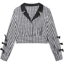 shirt Black and white check S,M,L,XL Spring 2021 polyester fiber 51% (inclusive) - 70% (inclusive) Long sleeves Versatile Short style (40cm < length ≤ 50cm) Admiral Single row multi button routine lattice Straight cylinder Peacebird A1CDB1216 Button, pocket