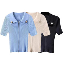 Wool knitwear Summer 2021 S,M,L,XL Black, blue, white, beige Short sleeve singleton  Cardigan Viscose 81% (inclusive) - 90% (inclusive) have cash less than that is registered in the accounts Thin money commute Self cultivation Polo collar routine Solid color zipper Korean version A5EDB2109 Peacebird